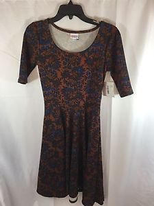 Lularoe Nicole Copper Brown Dress Small S NEW NWT Blue Flower Paisley