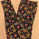 LULAROE Black Floral Print Leggings TC Tall Curvy NEW