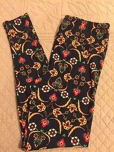 LULAROE Black Floral Print Leggings TC Tall Curvy NEW