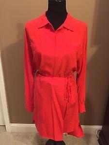 DVF Diane Von Furstenberg ROSETTA Silk Shirtdress Dress Belt Cherry Size 8  NEW