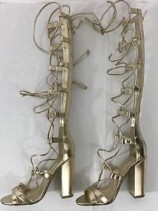 GUESS Annalie Gold Faux Leather Block Heel Lace-up Gladiator Sandals Heels NEW