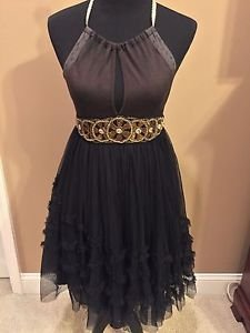 Free People Black Tulle Flirty Halter Party  Dress Sz 4 Or Xs/ Small GORGEOUS!
