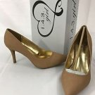 1.4.3. Girl Owanda Tan Brown Leather Nude Snake Pumps Shoes NEW