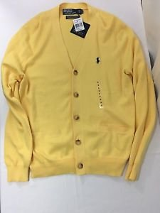 Polo Ralph Lauren Mens Yellow Blue Pima Cotton Pony Logo Cardigan Sweater Small