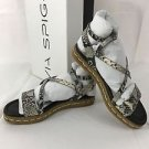 Via Spiga Laney Platform Sandals Shoes Black White Snake NEW $175