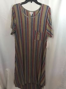 Lularoe Carly Dress Size XL Lt Grey Heathered With Vertical Stripes Hi-Lo - New!