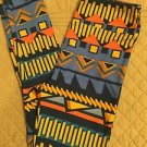 Lularoe LEGGINGS One Size OS NEW Tribal Print Black Blue Orange Yellow