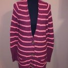 Free People Beach Knit Long Striped Cardigan Sweater Size Medium M Red Orange