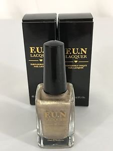 2  F.U.N. Lacquer TGIF Nail NEW Full Size IPSY Unique Gold Holographic 5-Free