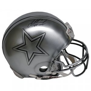 Dallas Cowboys Troy Aikman Autographed Hall of Fame Pewter Pro Helmet