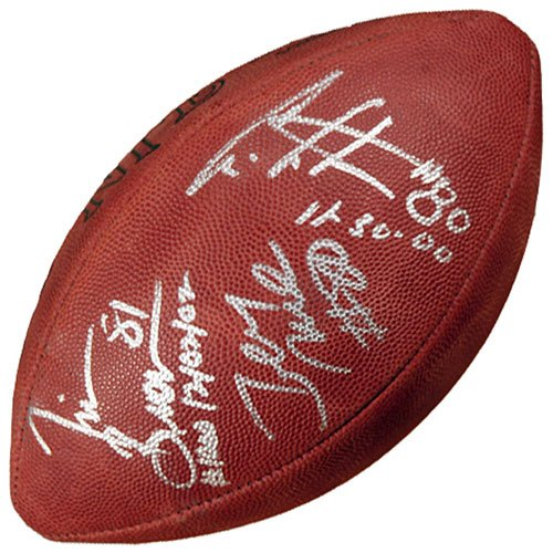 """Mounted Memories Rice, Brown, Carter Autographed """"1000 Catches"""" Football"""