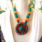 Ethinc Tibetan Red Coral Statement Necklace