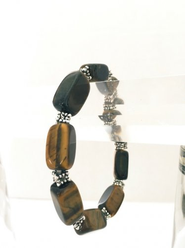 Tiger Eye Bracelet With Antique Silver Plated Spacers.