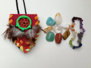 Prosperity Crystal Healing Pouch + Gemstone Chakra Bracelet