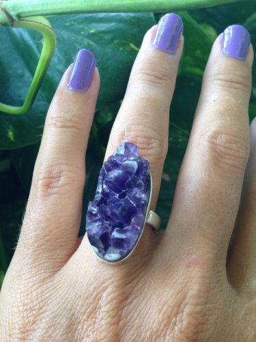 AMETHYST DRUZE RING Deep Purple from uruguay. 925 Sterling Silver Size 6