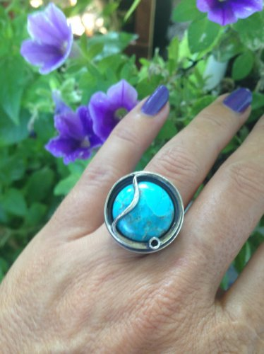 Natural Turquoise Ring in 925 Sterling. Size 5.75 Genuine Turquoise