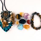Focus and Concentration Crystal Healing Pouch + Tiger Eye Bracelet