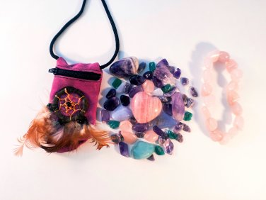 Stress relief & Anxiety Crystal Healing Pouch + Rose Quartz Bracelet
