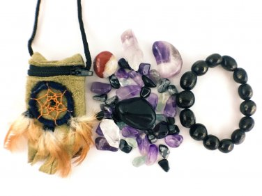 Protection Crystal Healing Pouch PLUS Jet Stone Bracelet