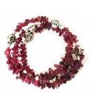GENUINE Red Garnet Multi Layer Coil Wrap Bracelet.