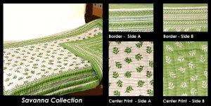 King Queen Savana Collection 100% Cotton Comforter Bedspread Quilt