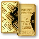 1 Gram 999.9 Fine Gold over Silver  Credit Suisse Bullion Bar