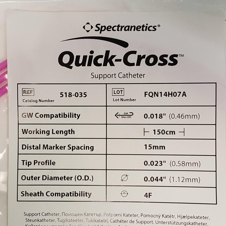 """Spectranetics Quick-Cross 518-035 Support Catheter 4F 0.018"""" x 150cm"""