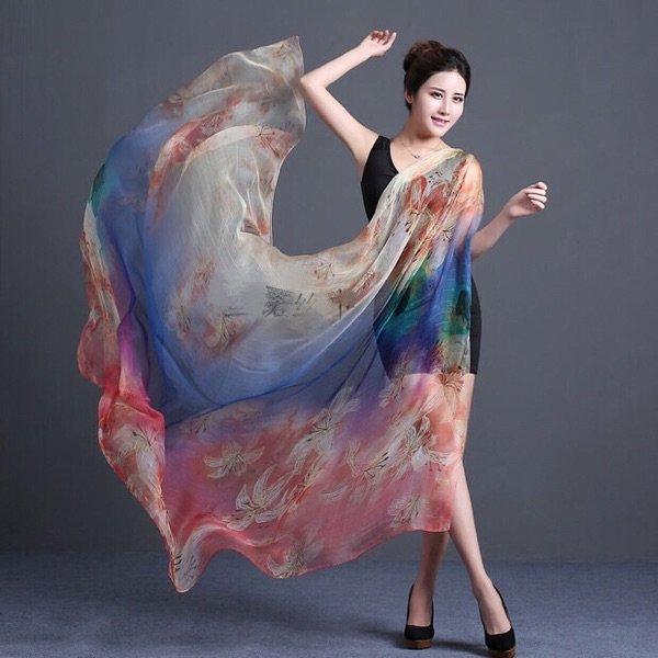 Authentic oversized mulberry silk scarf shawl beach towel 100% silk