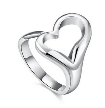 Open heart ring European and American silver heart-shaped ring jewelry R009