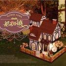 Birthday Idea Flowertown DollHouse DIY Mini Furniture Wooden House Perfect Gift - Free Shipping