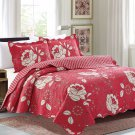 3 Piece Quilt Set Emma-Cranberry(QueenSize)