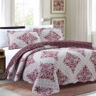 3 Piece Quilt Set Emma-Burgundy (QueenSize)
