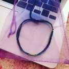 Cool color tie dye and black square knot bracelet