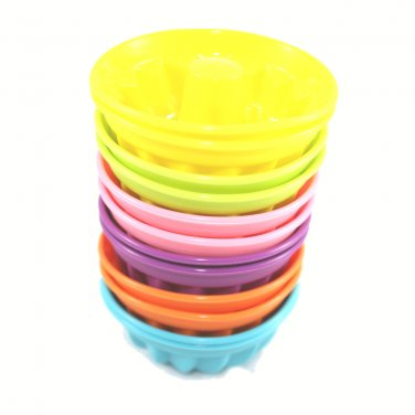 12-Pack Steadys BM-0119L Reusable Non-Stick Mini Bundt Savarin Silicone Baking Cups