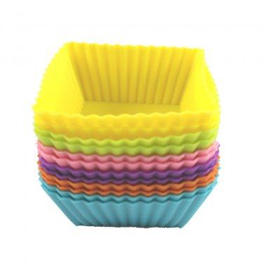 12-Pack Steadys BM-0130  Reusable Non-Stick Mini Square Premium Silicone Baking Cups