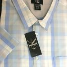 CALVIN KLEIN Men's Short Sleeve Button SHIRT~White/Blue Plaid~Size-M~NWT~ret-$47