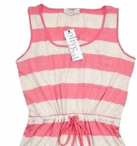 Olive & Oak Women's Summer Sun Dress~Coral/Oatmeal Striped~S,M,L,XL~NEW~ret-$50