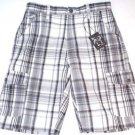 AGE OF WISDOM Men's Cargo Utility Casual Shorts~Black/White Plaid~Sz-32~NEW