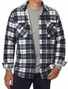 Freedom Foundry Men's Plaid Fleece Sherpa Shirt Jacket~Black~Sz-L~NWT