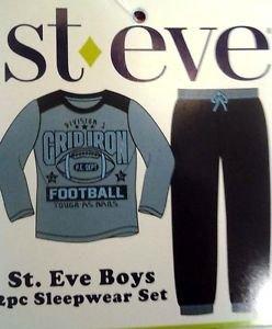 St.Eve Boy's 2 pc L/S Fleece Football Pajama Set~BLUE~Sz-M-10/12~NEW