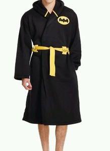 Batman Men's Rocky DC Comics Hooded Bathrobe Robe~Black~Sz-L/XL~NWT