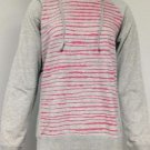DKNY Women's Long Sleeve Pullover Hoodie~Gray Striped~Sizes-L & XL~NWT