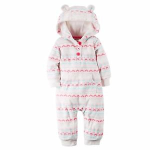 Carter's Baby Girls 1 piece Hooded Fleece Jumpsuit~White Pink~Sz-6 mo~NWT
