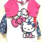 Hello Kitty Girls 2-Piece Skort Skirt & Top Set~Sz-5~Pink/Blue/White~NWT