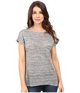 Calvin Klein Women's Casual Short Sleeve Top Shirt~Iron Gray~Sz-M~NWT~ret-$49.5