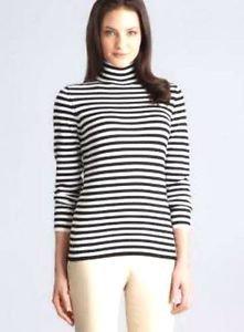 Joseph A. Women's Turtleneck Striped Sweater~Gray~Sz-M, L, XL, 2XL~NWT