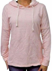 O'NEILL Women's Terry Pullover Hoodie Sweatshirt~Pink Stripes~Sz-L~NEW~ret-$56