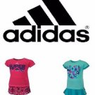 ADIDAS Girl's 2 Piece Top & Skirt/Skort Set~Aqua/Pink~Sz-6 & 6x~NWT