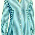 Foxcroft Women's Wrinkle Free L/S Shirt Top Blouse~StripeTurquoise~Sz-M & S~NWT