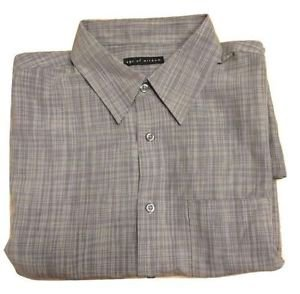 Age of Wisdom Men's Button down Short Sleeve Shirt~Sz-L~Grey~NWT